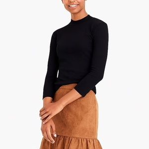 J. Crew Tops - J. Crew • Black Ribbed Mock Neck T-Shirt